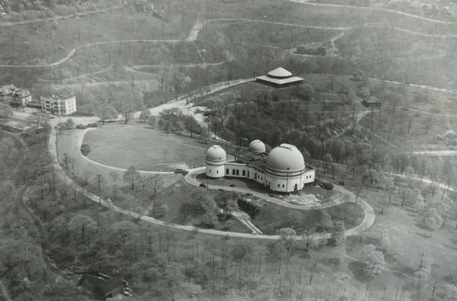 An aerial shot of the original observatory.