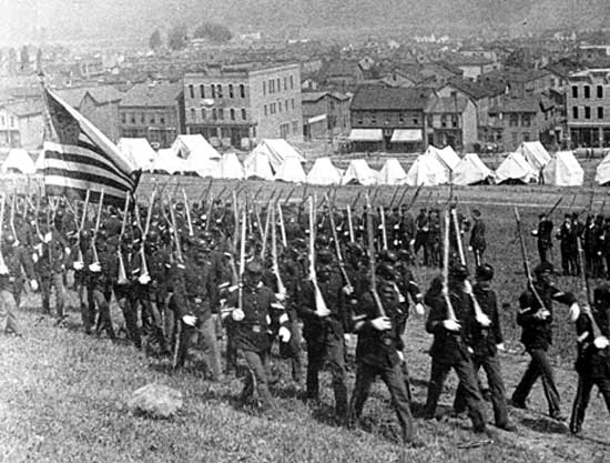 Pennsylvania State Militia marching into Homestead