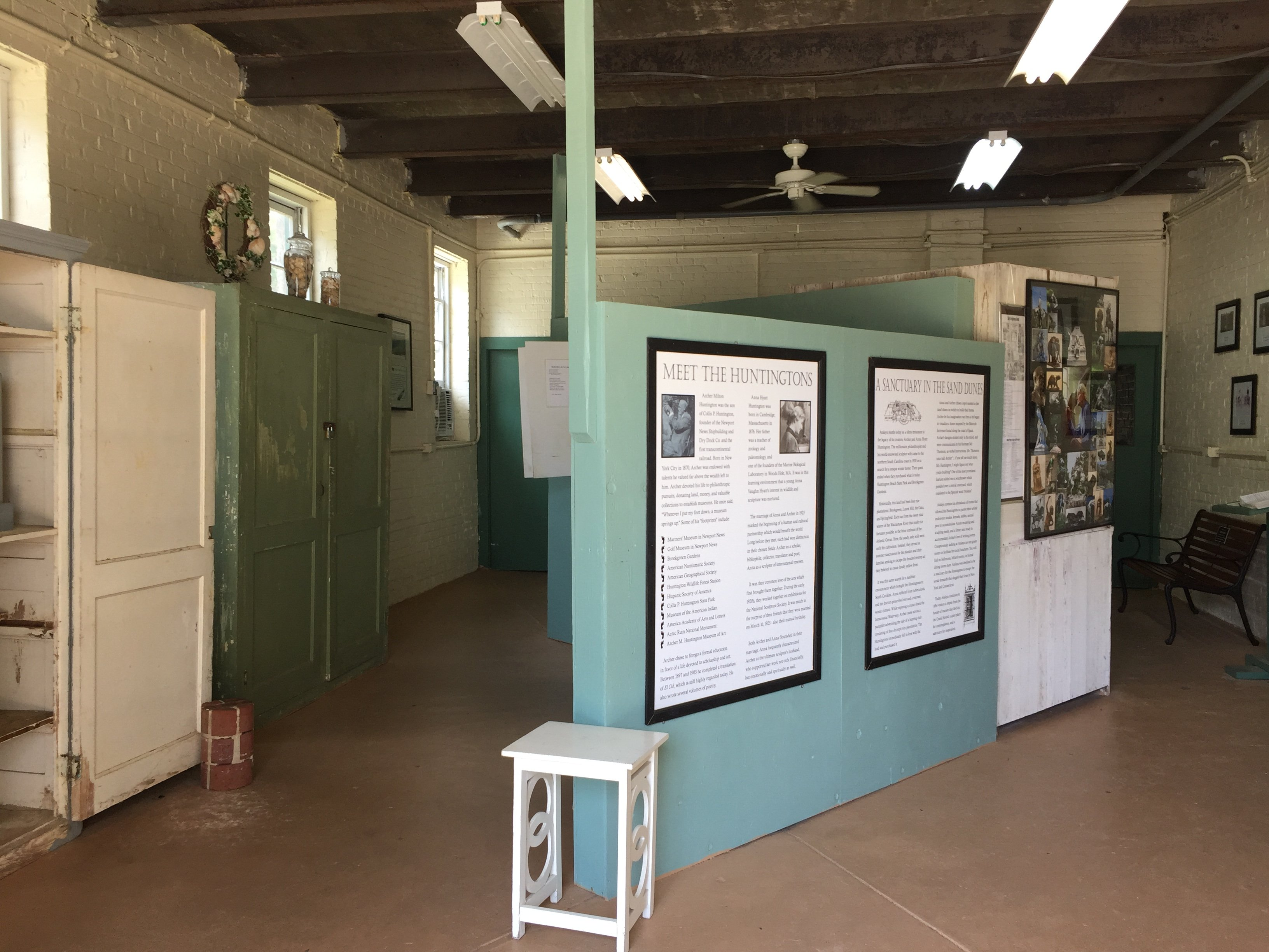 Inside of the old garage. It now houses articles and photos of the Castle.