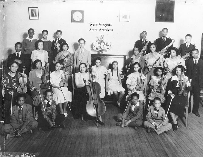 Revella Hughes and the Barnett School Orchestra, circa 1933