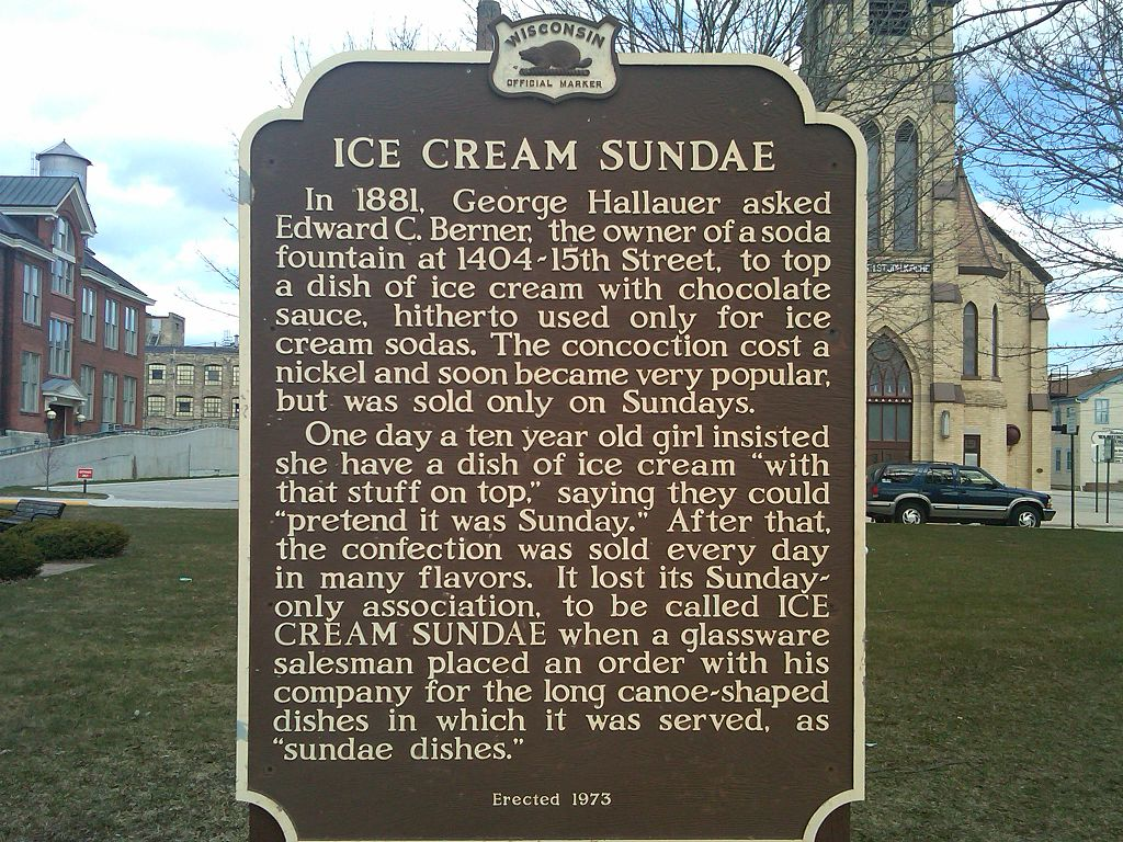 Historical marker for the ice cream sundae birthplace.