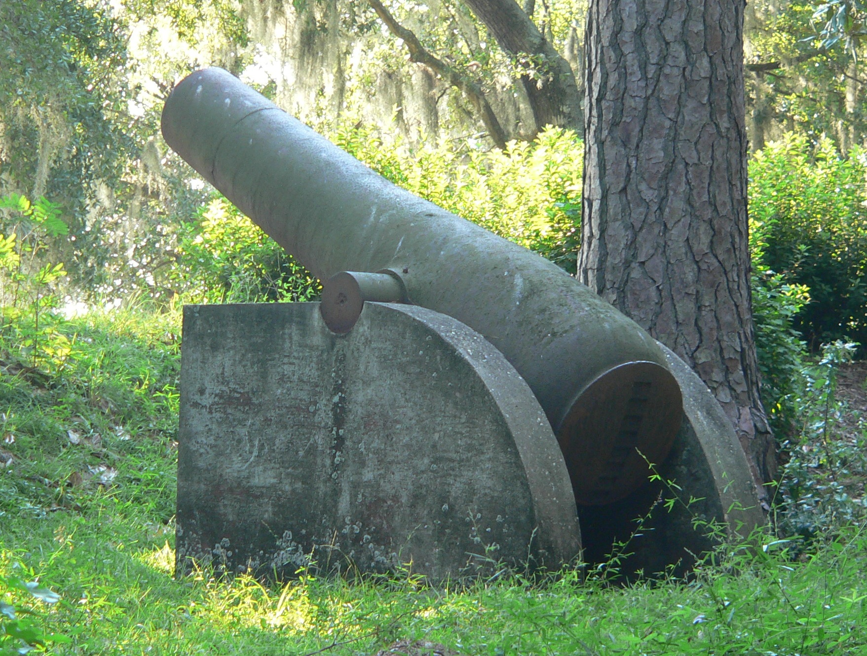 One of the canons on display