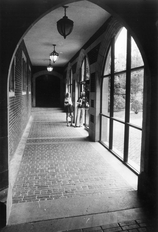 Walkway to the dining hall in 1974.