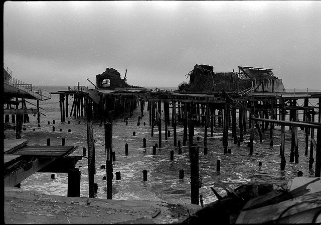 """Pacific Ocean Park Pier after its closer in 1967. Photograph found at http://www.keyword-suggestions.com/cGFjaWZpYyBvY2VhbiBwYXJr/  """"The Rise and Spectacular Fall of Pacific Ocean Park"""""""