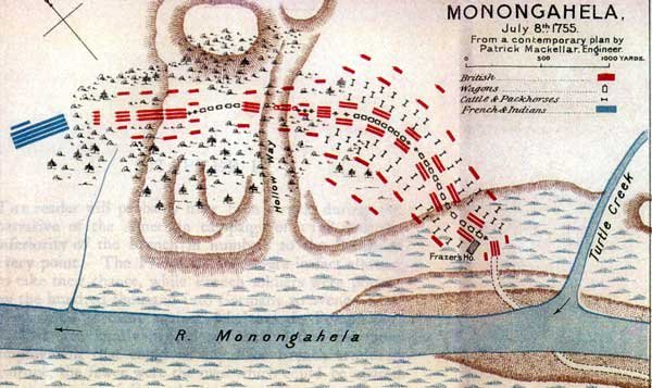 A contemporary map of the battle. Braddock's forces were poorly coordinated, and Braddock himself had limited experience campaigning in the Colonies.