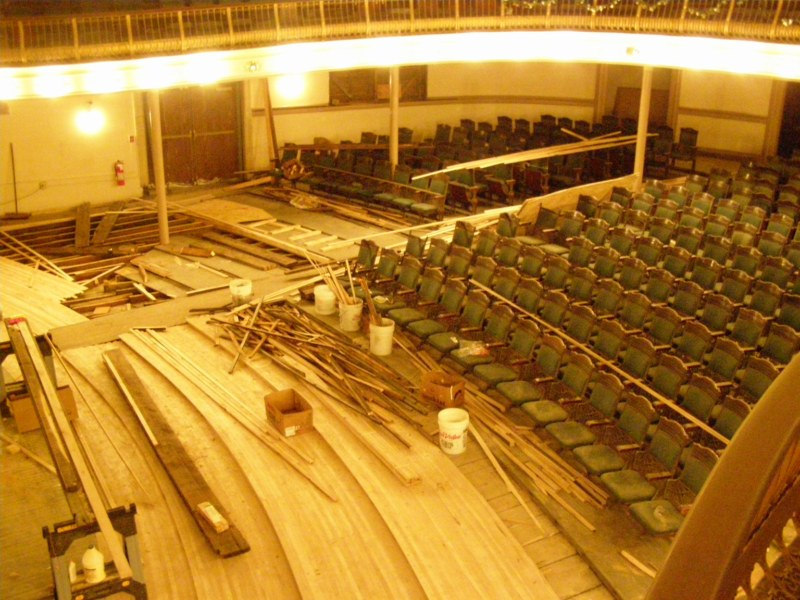 The restoration of the music hall.