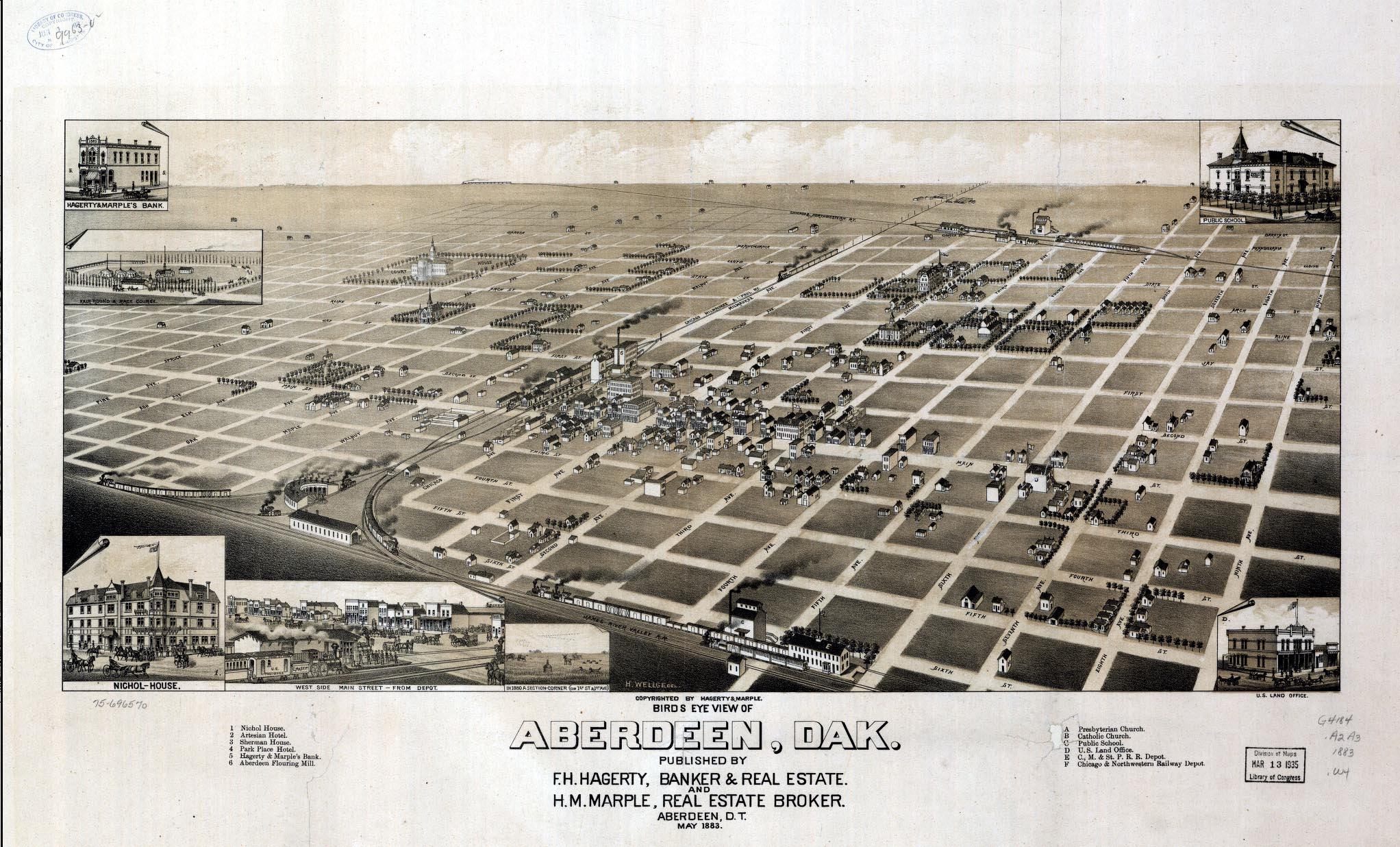 This 1883 map of Aberdeen shows what would become the Hagerty & Lloyd district on the right bottom corner. F.H. Hagerty's name can be seen below the map.