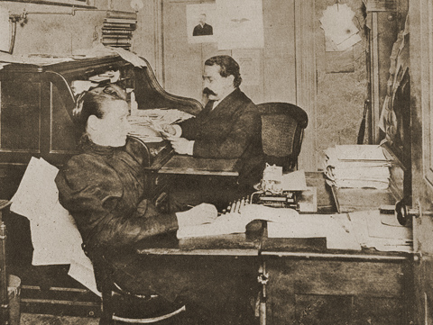 Samuel Gompers in the office of the American Federation of Labor, 1887
