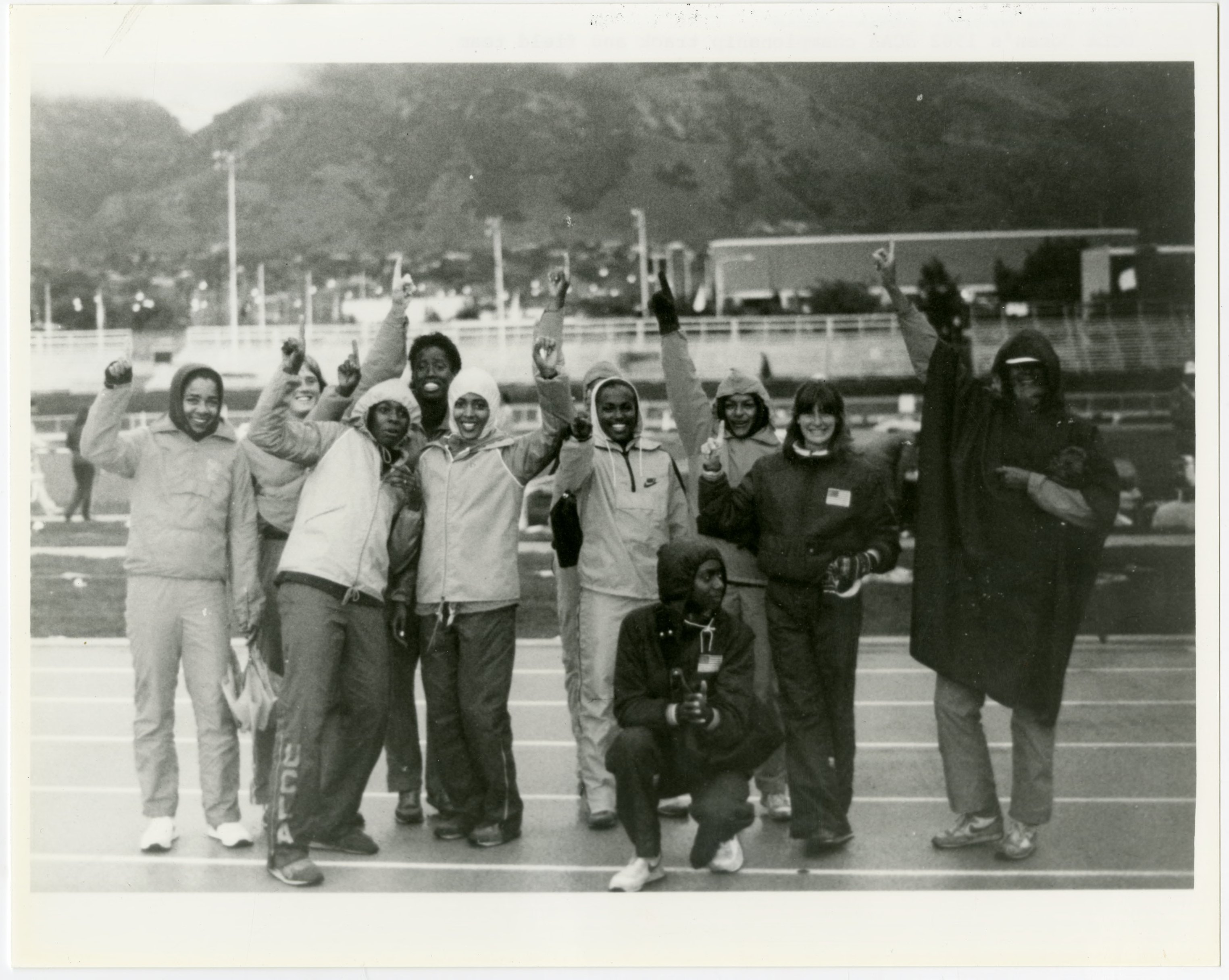 UCLA Library University Archives captures UCLA Bruins Women's Track team  and Florence Griffith (sixth person from the left) shortly after NCAA Division 1 Championship 192, i