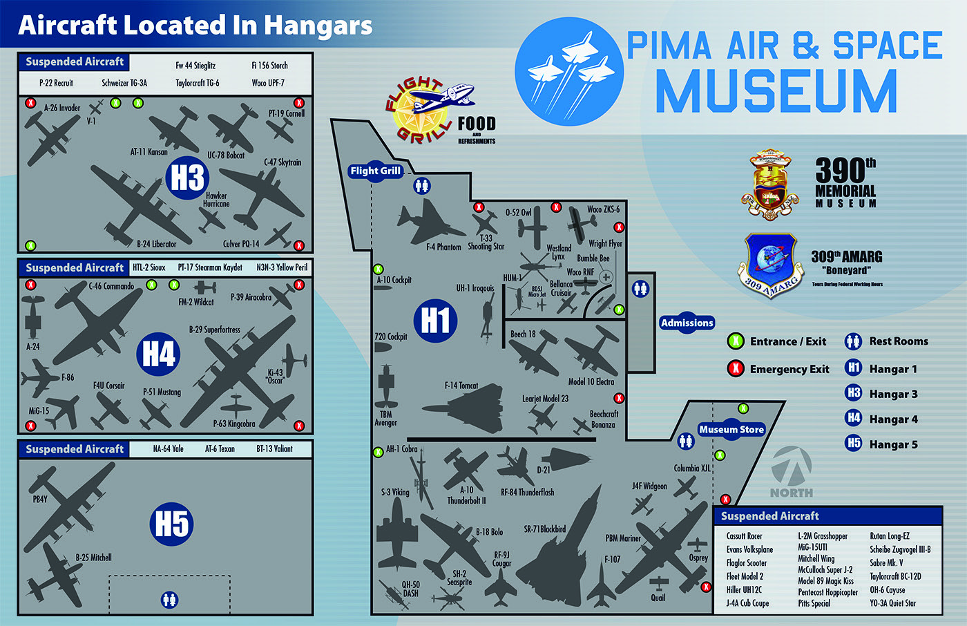 Aircraft located in Hangars (Map)