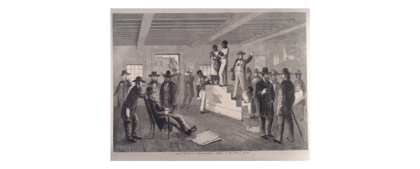 A drawing of a slave auction in Richmond, Virginia by George Henry Andrews and published in The Illustrated London News in 1861