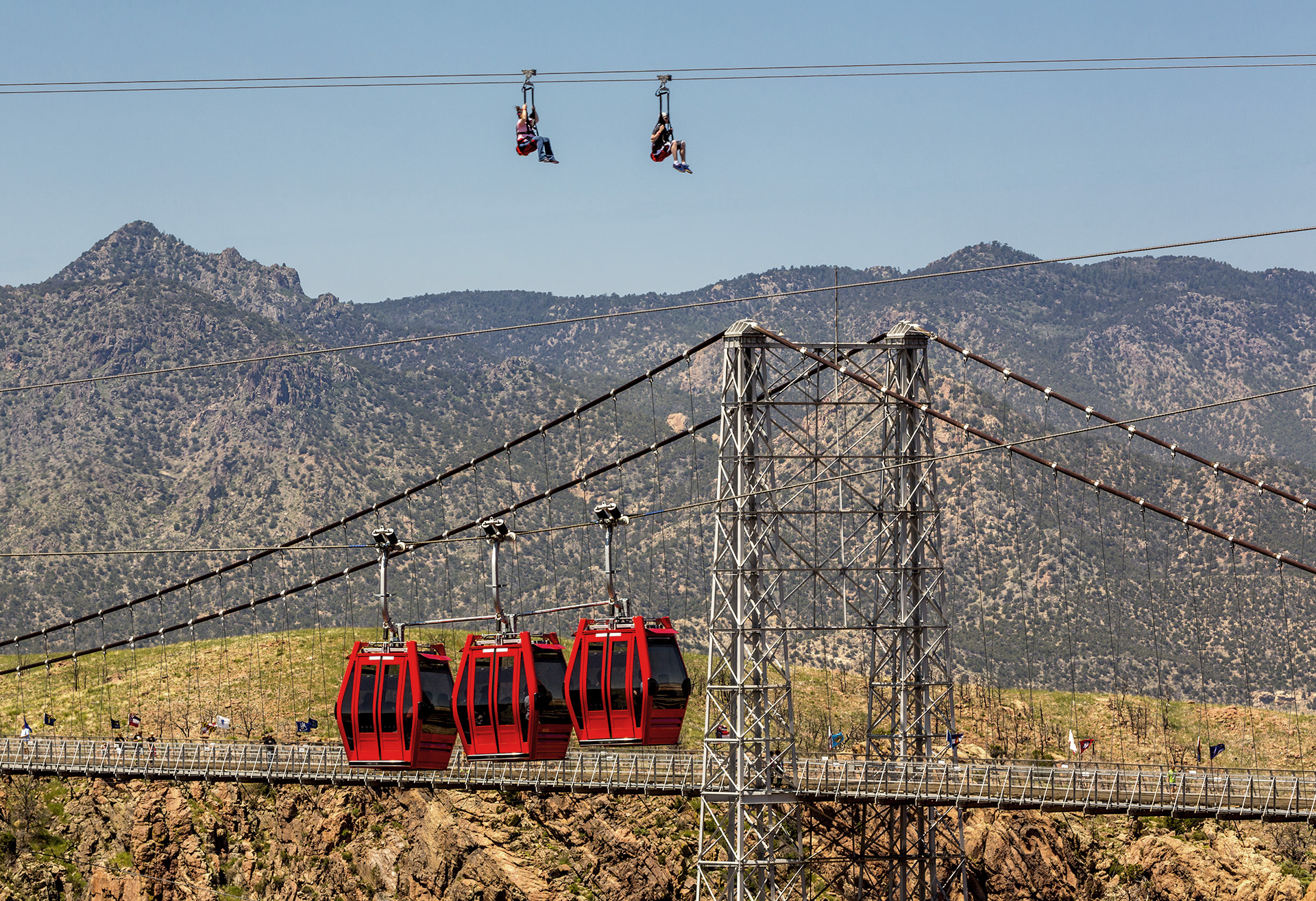 View of the aerial gondolas and the zipline
