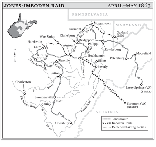Map of the Jones-Imboden Raid's progress through what became West Virginia.