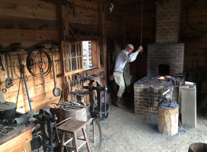 The homestead's recreated blacksmith's forge.