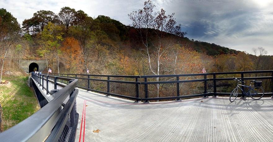 A converted railroad trestle.