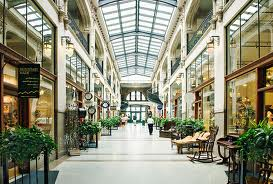 A view of the interior of the Grove Arcade.