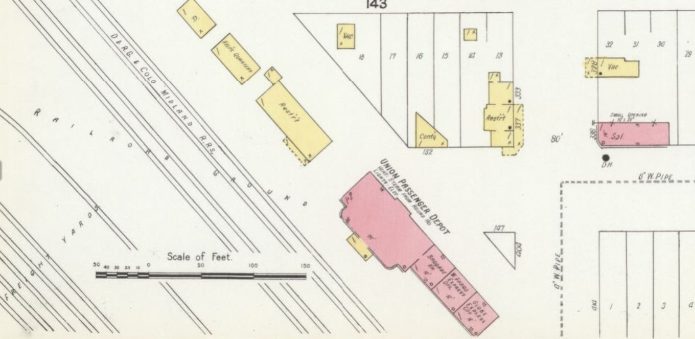 Railroad station on 1907 Sanborn map of Grand Junction, Mesa County, Colorado (Sanborn Map Company, p. 10)