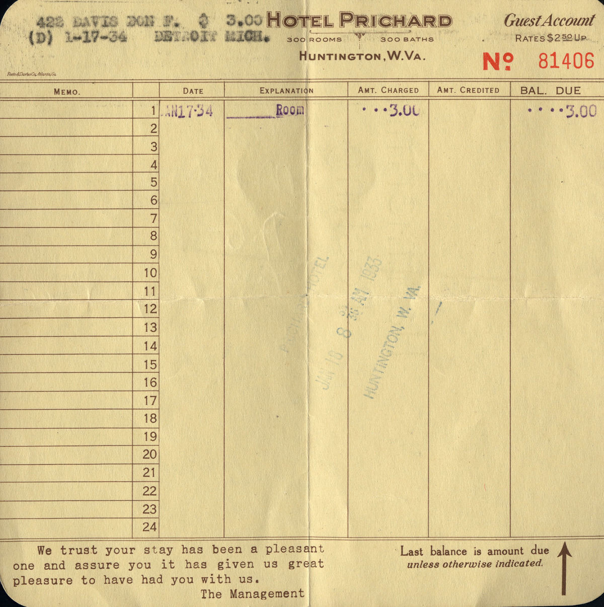 A receipt from 1934.