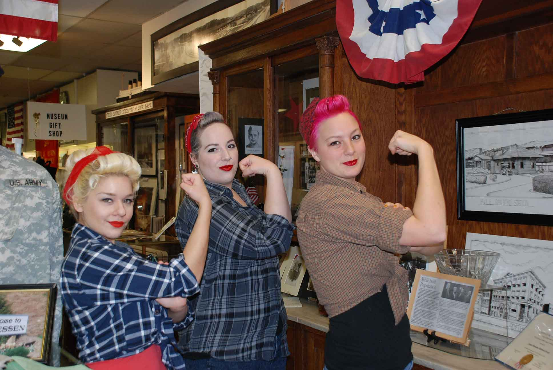 We can do it!  Modern day Rosie the Riveters at the museum.