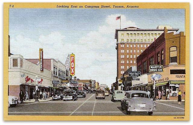 Historic postcard looking east on Congress Street. n.d.