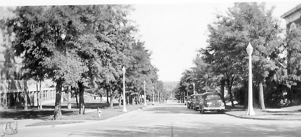 Normal [College] Avenue about 1935. The Philena apartments are at right.