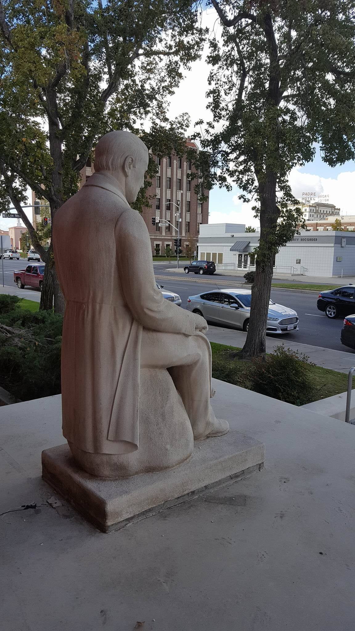 Side view of Colonel Thomas Baker statue