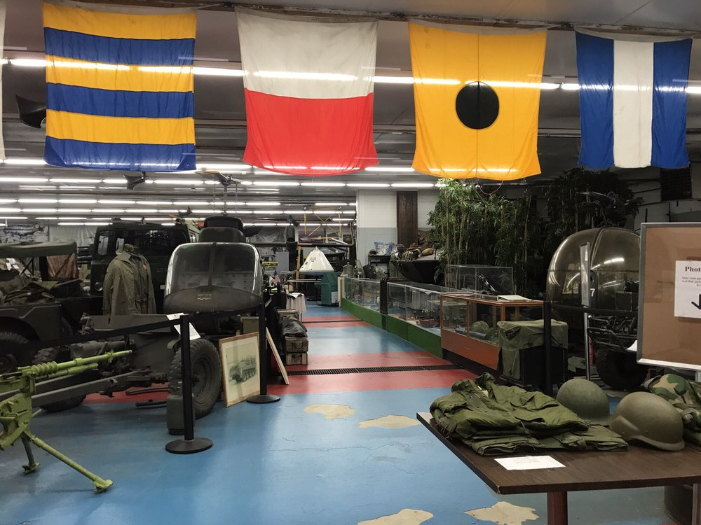Interior view of exhibits at Russell Military Museum