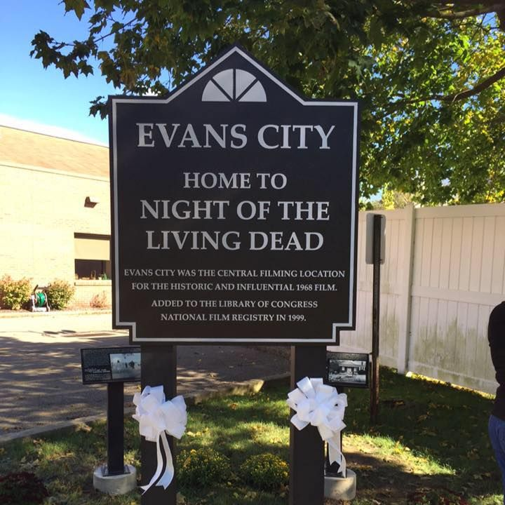 Marker commemorating the filming of Night of the Living Dead in Evans City in 1968.