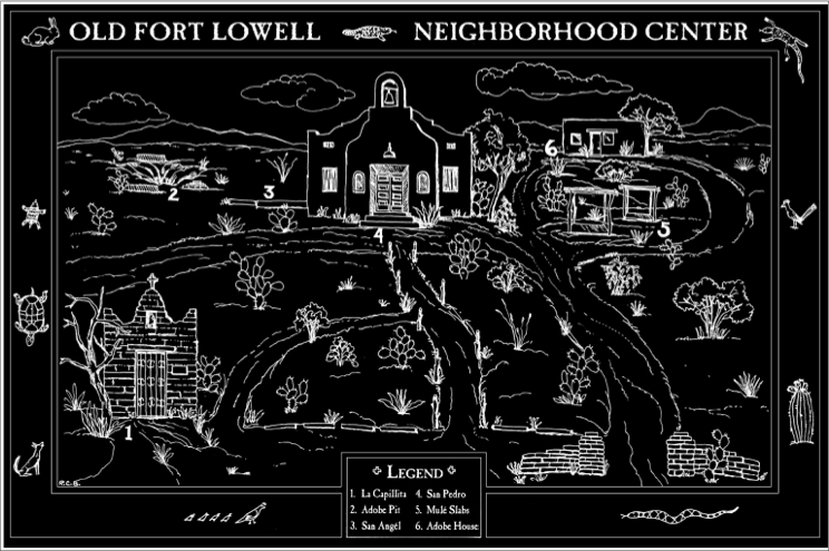 Drawing w/legend of Old Fort Lowell Neighborhood Center