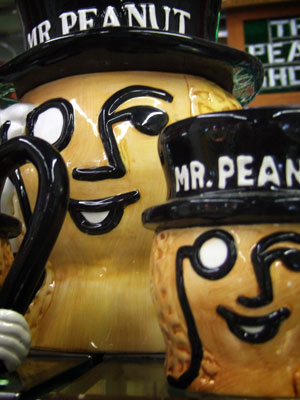 Mr. Peanut decorations inside The Peanut Shoppe