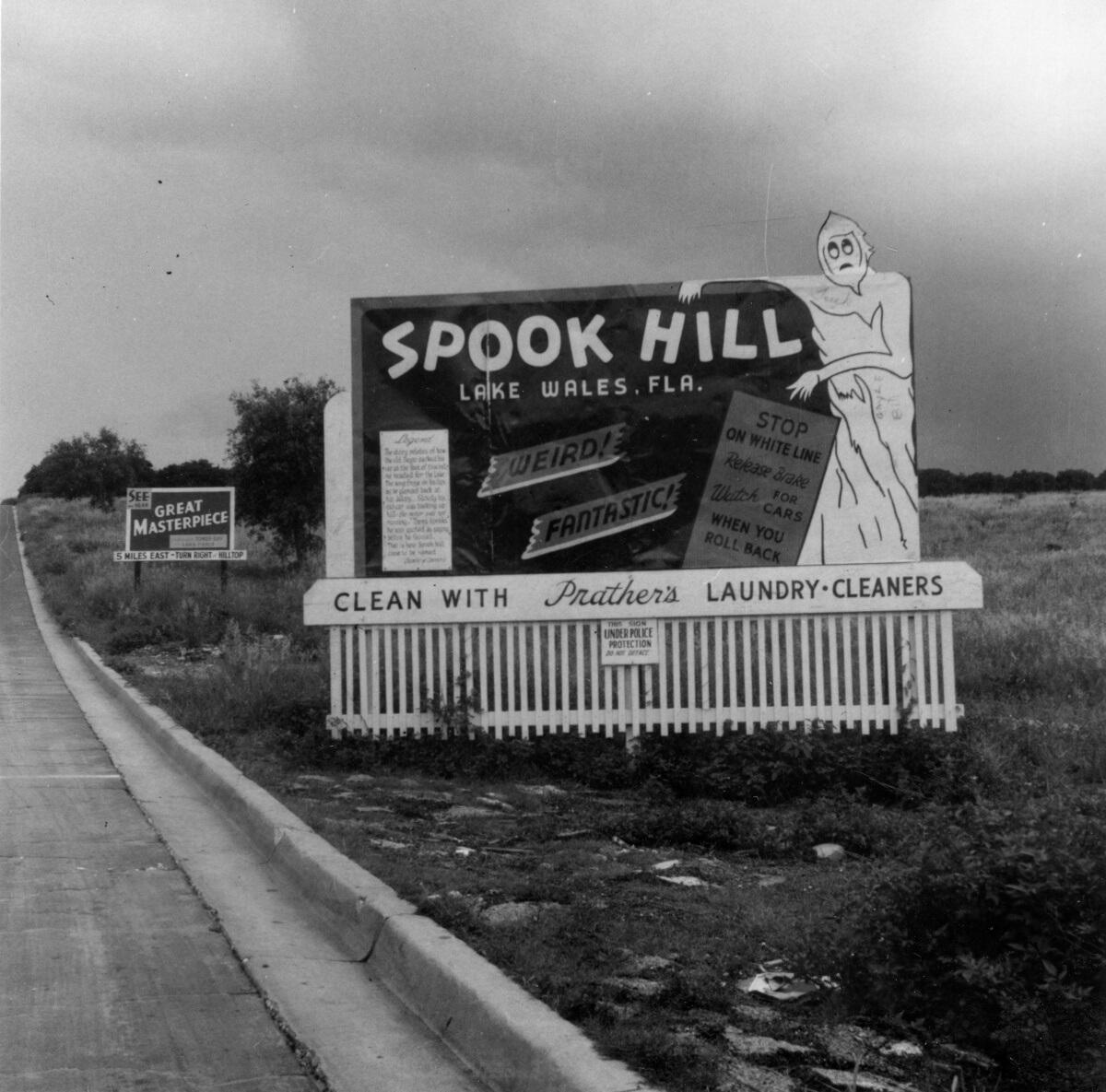 Vintage Spook Hill sign