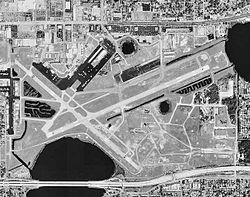 Aerial view of runways