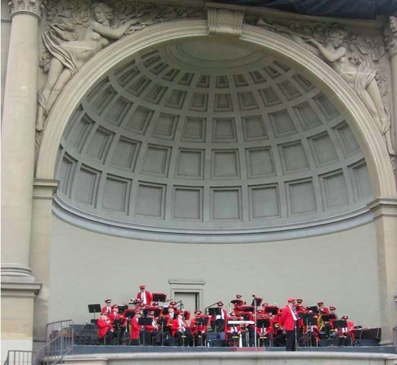 The Golden Gate Park Band performing at the Spreckels Temple of Music, where they have performed since the bandshell was built in 1900