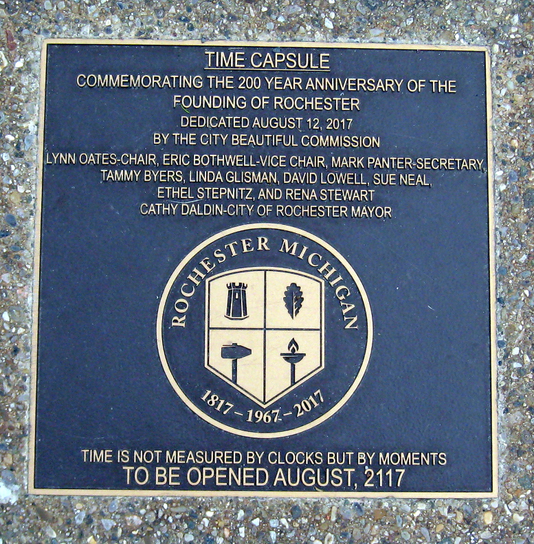 Rochester Bicentennial Sundial time capsule plaque, 2020