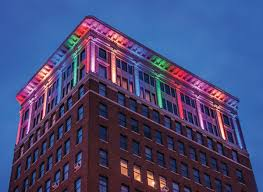 The newly installed exterior lighting system that changes colors for holidays and events.