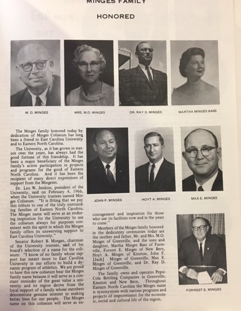 """Minges Family Honored  """"From the Records of Leo W. Jenkins tenure as President and Chancellor. UA02-06. East Carolina University Archives, Joyner Library, Greenville, NC."""