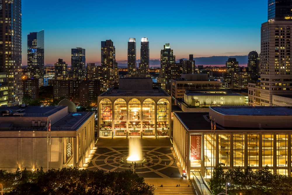 Lincoln Center with New York City in the Background