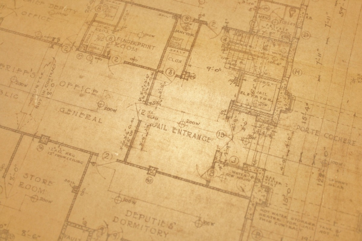 Hand-drawn plans for the 1929 courthouse include a deputies' dormitory and a fingerprint room, which was fairly new technology in criminal investigations.