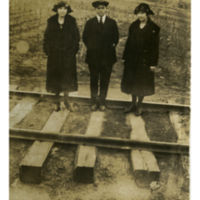 Undated Photograph of Students Standing on Railroad Tracks in Boone, NC
