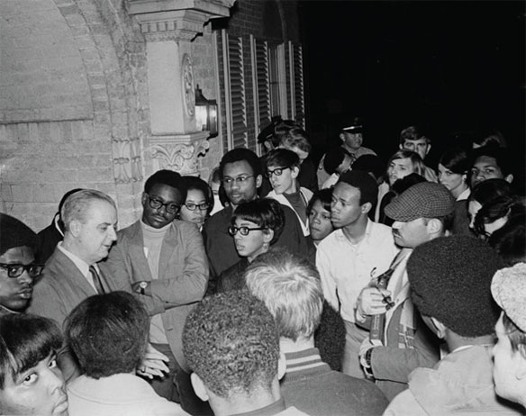 President Leo Jenkins meeting with students that protested for racial equality outside of his home.