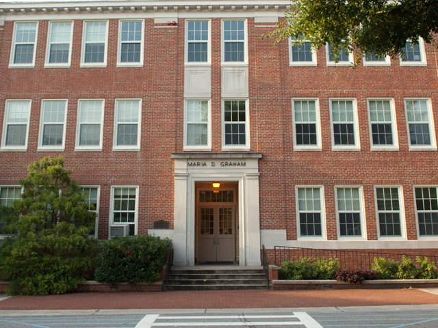 The Graham Building was built along Wright Circle in 1929 and currently serves as the head of the Department of Geology. The building was dedicated in honor of Maria Daniel Graham, one of three teachers on staff when ECU was established.