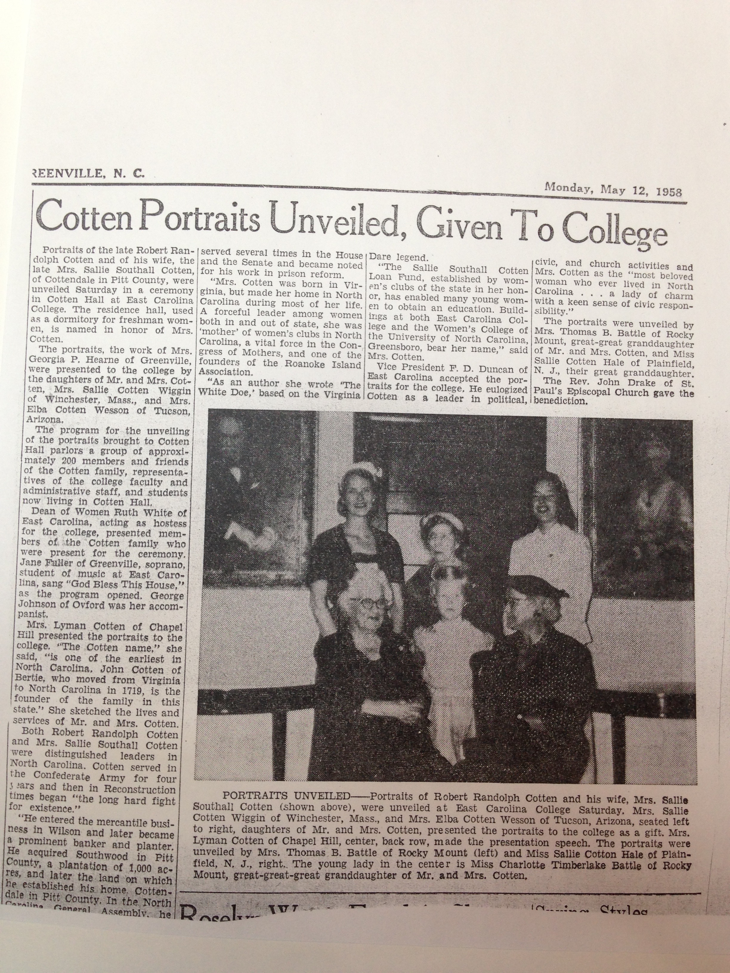 Unveiling of Cotten Portraits in Cotten Hall 1958