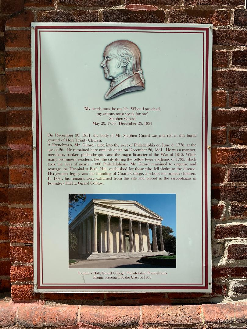 Stephen Girard plaque at Holy Trinity churchyard, photo taken 2020