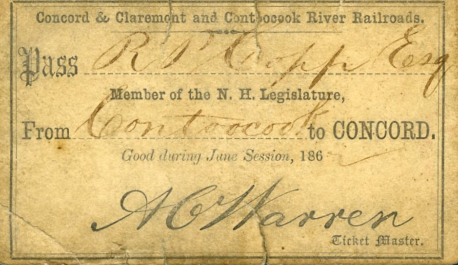 "Members of the N.H. Legislature received free passes to ride the railroad.  William Eaton Chandler, in his 1891 book commonly known as ""Book of Bargains,"" claimed that railroads ""corruptly govern New Hampshire"" through the use of  railroad passes and railroad money."