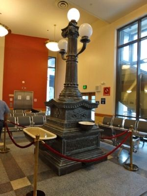 The memorial fountain is on display in the Amtrak station.