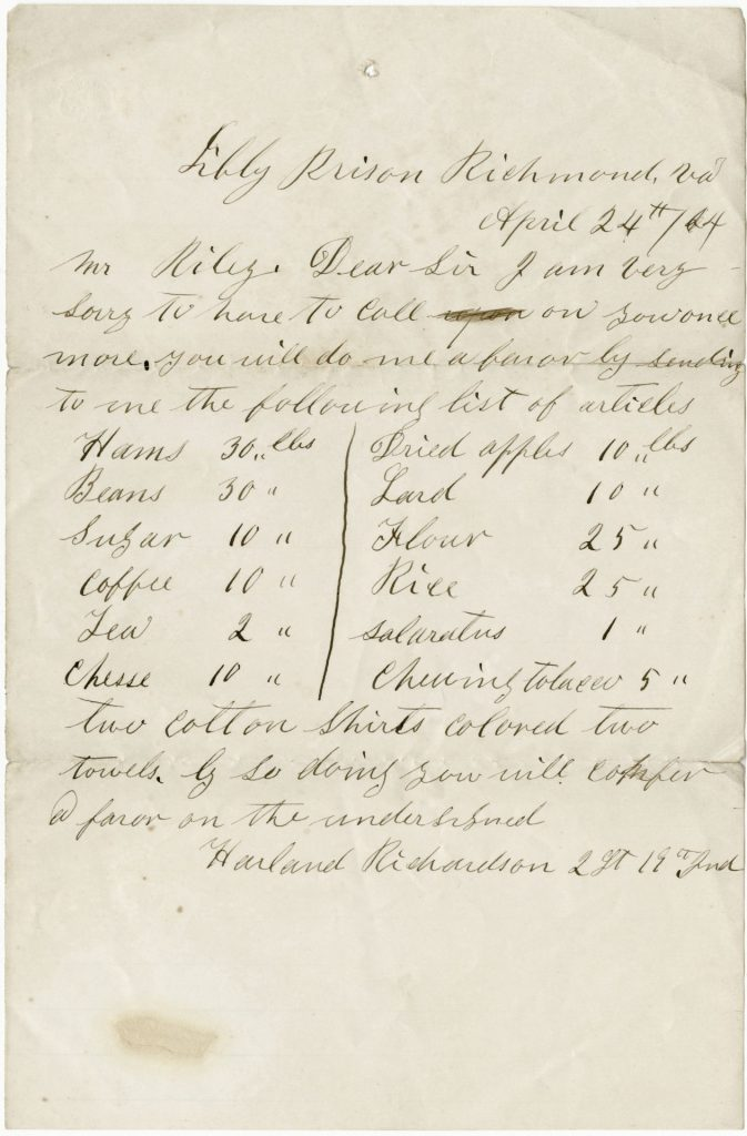 A letter written by Libby prisoner Harland Richardson dated April 24, 1864, detailing necessary food provisions