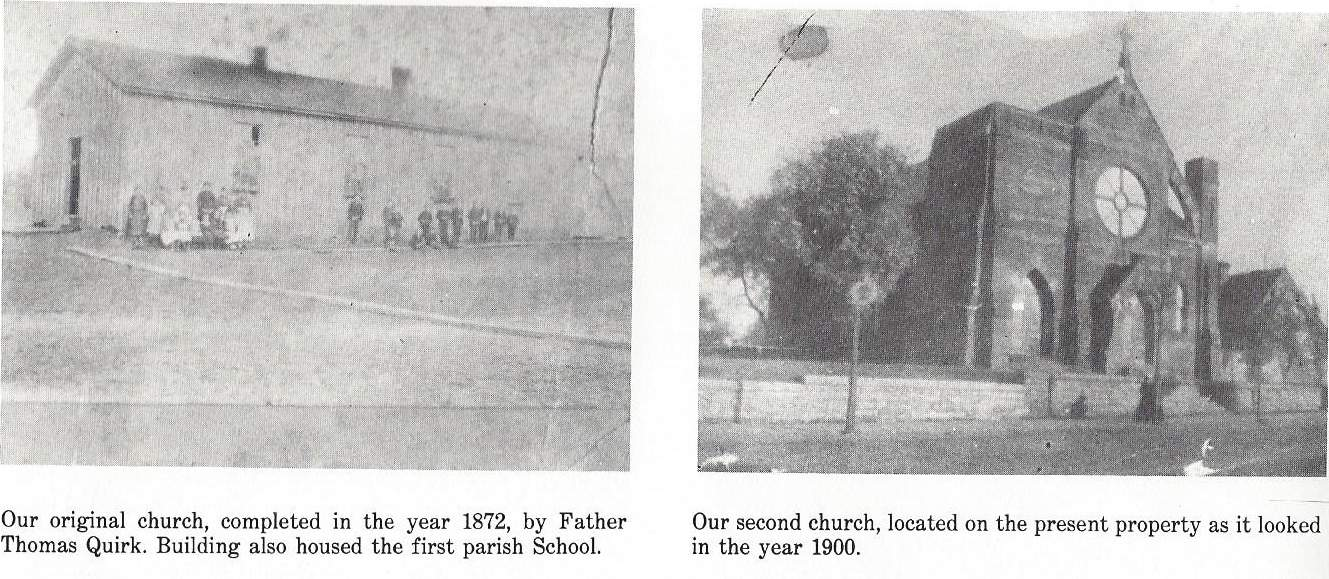 The original church, and the present church in 1900.