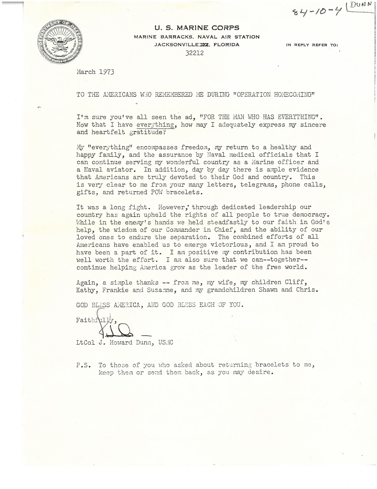 Letter from  ltCol. J.Howard Dunn