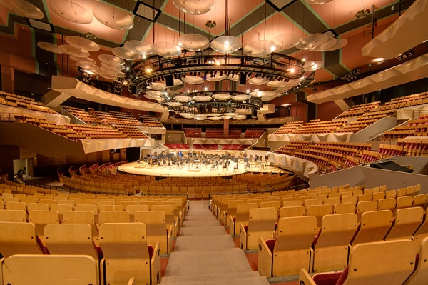 Boettcher Concert Hall became the first symphonic hall to utilize the in-the-round design. It is part of the Denver Arts Complex.