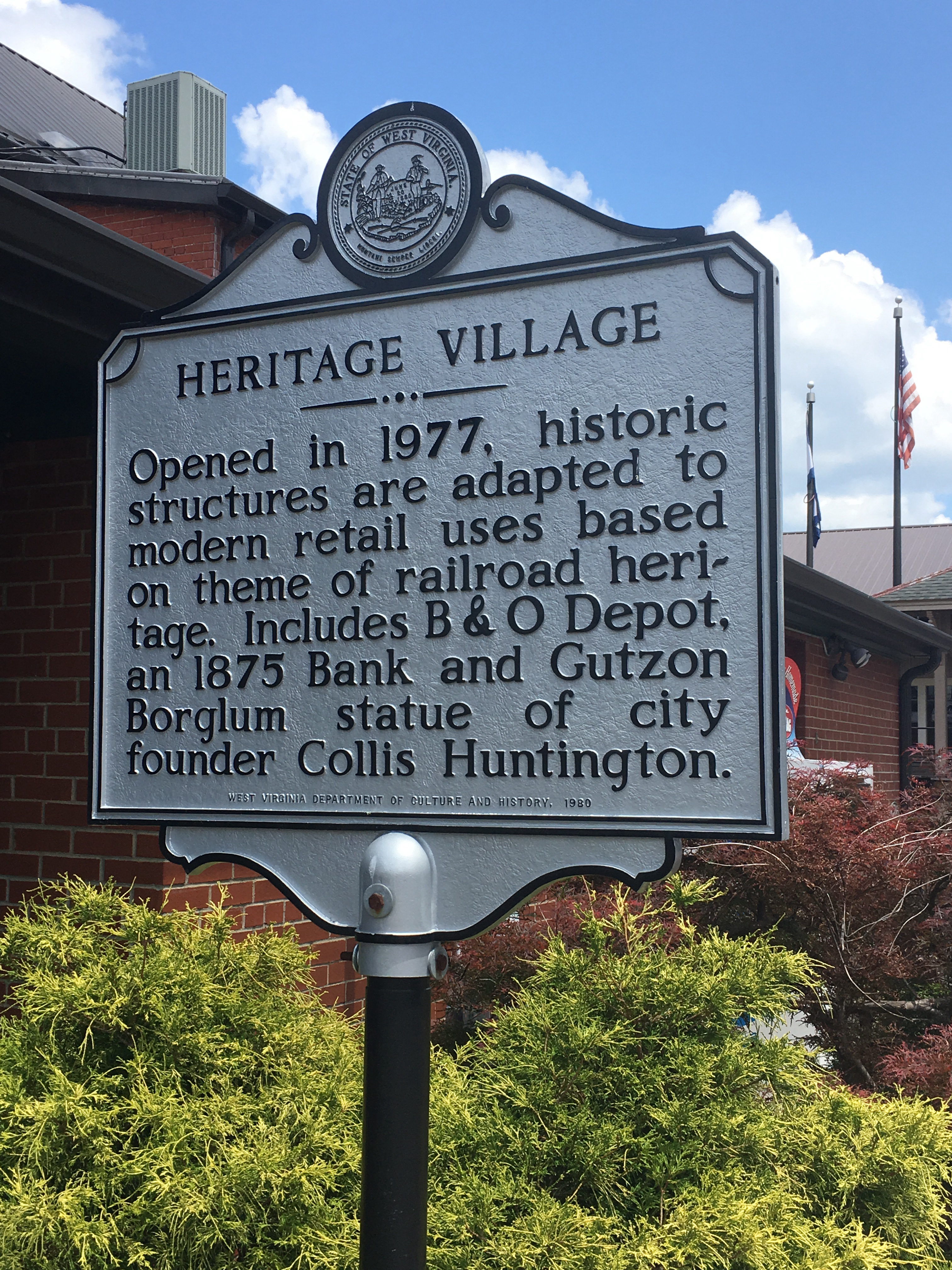 Historical Marker for Heritage Station; it was originally known as Heritage Village when it first opened.